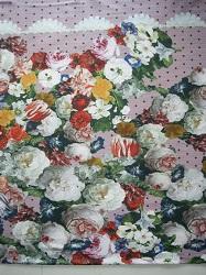 BW-Jersey Blumenmuster auf rosa Strick (Druck)