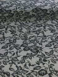 Cloqué-Jersey Blättermuster grau/schwarz