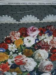 BW-Jersey Blumenmuster auf grauem Strick (Druck)