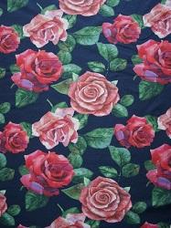 BW - Jersey dunkelblau mit Rosen rot/rosa