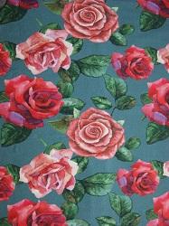 BW - Jersey petrol mit Rosen rot/rosa