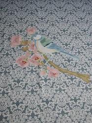 BW-Jersey Spitzenmuster auf blaugrau mit Vogel