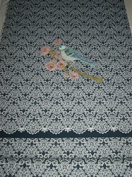BW-Jersey Spitzenmuster auf dunkelblau mit Vogel