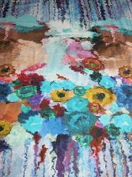 BW-Jersey Rapportmuster bunte Aquarellblumen