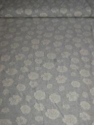 Jaquardstrick Baumwolle hellgrau/weiß Rosen