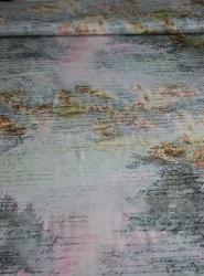 Viscose-Jersey Farbverläufe Aquarell mit Schrift
